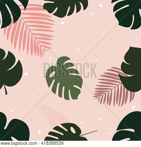 Palm leaves pattern Vector illustration in flat design Monstera and palm leaves on light pink dotted background