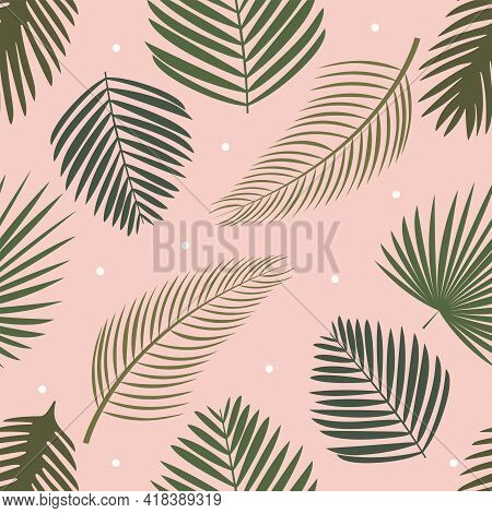 Palm seamless pattern Vector illustration in flat design Green lush foliage on light pink dotted background