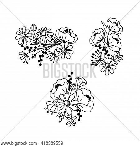 Hand Drawn Wildflowers. Black And White Doodle Wild Flowers And Grass Plants. Monochrome Floral Elem