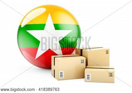Parcels With Myanmar Flag. Shipping And Delivery In Myanmar, Concept. 3d Rendering Isolated On White