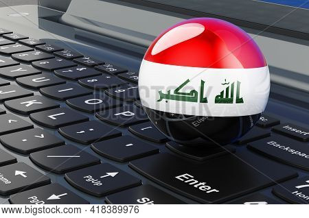Iraqi Flag On Laptop Keyboard. Online Business, E-education, Shopping In Iraq Concept. 3d Rendering