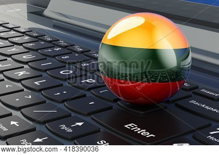 Lithuanian Flag On Laptop Keyboard. Online Business, E-education, Shopping In Lithuania Concept. 3d