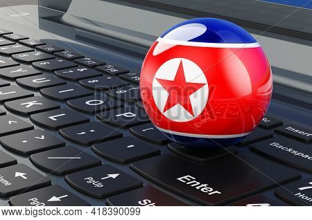 North Korean Flag On Laptop Keyboard. Online Business, E-education, Shopping In North Korea Concept.