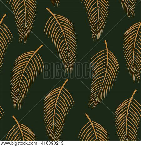 Vintage vector illustration with palm seamless pattern Golden lush foliage on deep green background