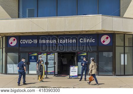 Toronto, Canada, April 2021 - Entrance To The Covid-19 Mass Vaccination Clinic At Scarborough Town C