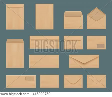 Craft Envelopes. Business Identity Stationery A4 Printing Mockup Collection Vintage Letters From Cra
