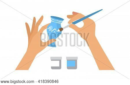 Hand Made Workshop. Kids Lab, Hand Coloring Blue Ceramic Vase. Home Relaxing And Entertaiment Vector