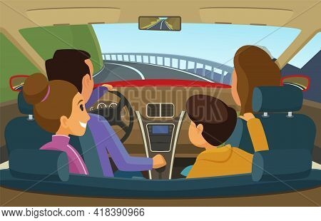 Family In Car. Mother Father And Kids Travelling In Automobile People Seating In Car Interior Exact