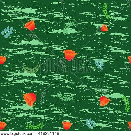 Summer Romantic Pattern With Orange Flower On Green. Decorative Colorful Elegant Romantic Seamless P