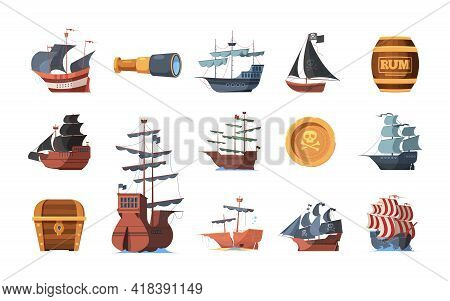 Pirate Symbols. Old Ships Of Looters And Invaders Parrot Spyglass Hook Prey Garish Vector Boats Of P
