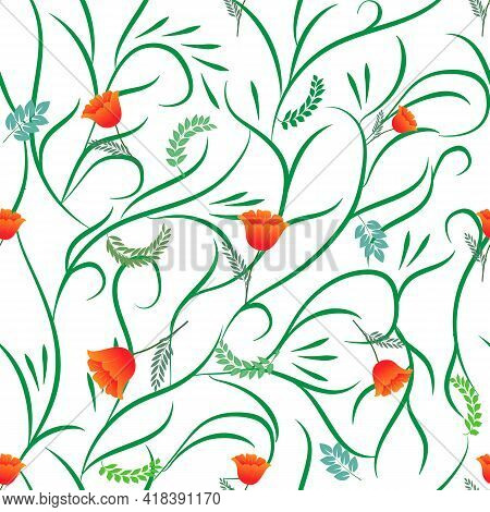 Summer Romantic Pattern With Orange Flower On White. Decorative Colorful Elegant Romantic Seamless P