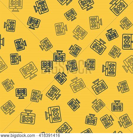 Blue Line Cryptocurrency Exchange Icon Isolated Seamless Pattern On Yellow Background. Bitcoin To Do