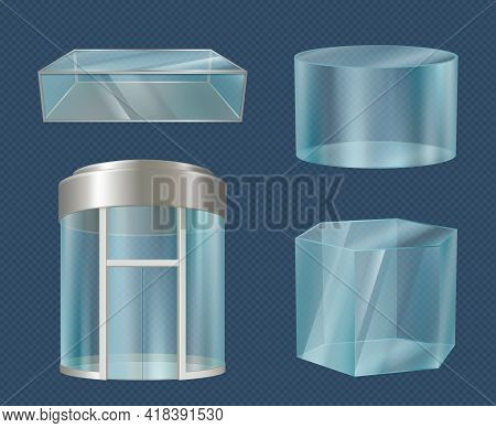 Glass Elevator. Modern Transparent 3d Boxes Stylish Forms Cube Cylinders Mall Showcase For Advertisi