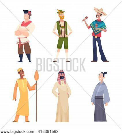 Different Nationalities. Ethnic Group Of People Standing Characters Country Nations Exact Vector Peo