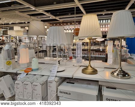 Russia, St. Petersburg 16.03.2021 Lamps In The Ikea Store For Sale