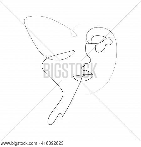 Abstract Face With Butterfly One Line Drawing. Portret Minimalistic Style