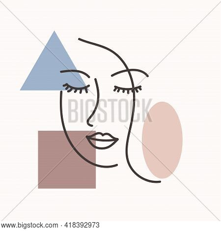 Abstract Woman Face One Line Drawing. Portret Minimalistic Style. Continuous Line.