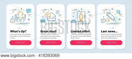 Set Of Line Icons, Such As New Mail, Hold T-shirt, Elevator Symbols. Mobile Screen Mockup Banners. M