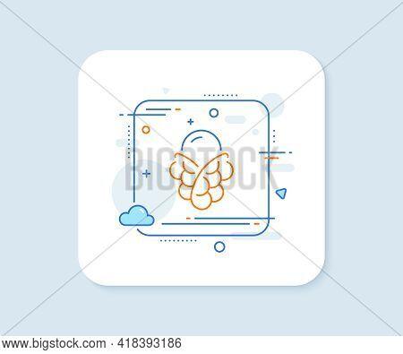 Ice Cream Bubble Waffle Line Icon. Abstract Square Vector Button. Vanilla Sundae Cone Sign. Frozen S