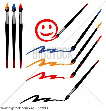 Artistic Brushes And Colored Lines. Vector Illustration.