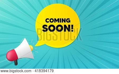 Coming Soon. Background With Megaphone. Promotion Banner Sign. New Product Release Symbol. Megaphone