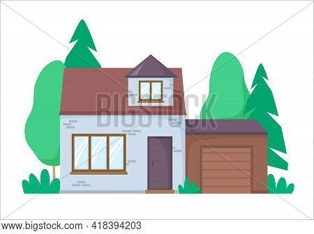 Brick House With Garage. Nice Detached House With Greenery On Background. Flat Design Architecture.
