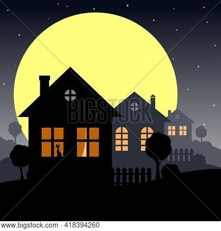 Night Village Landscape With A House.  Stylized Night Landscape With A Village House And Trees. Vect