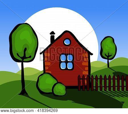 Landscape With A Village House.  Stylized Landscape With A Village House And Trees. Vector Illustrat