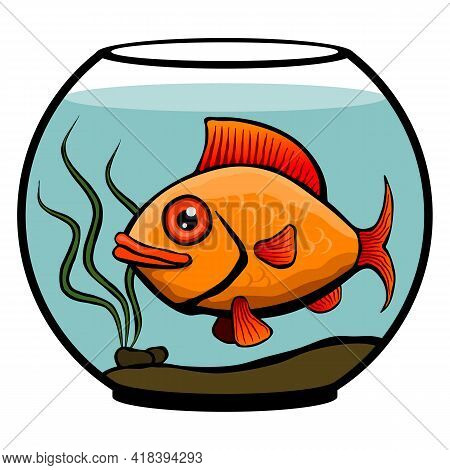 Gold Fish In A Round Aquarium.  Round Aquarium With Goldfish On A White Background. Fishbowl With Fi