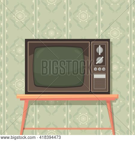 Tv On Table. Retro Background With Old Tv Set For Entertainment Communications Media Show Translatio