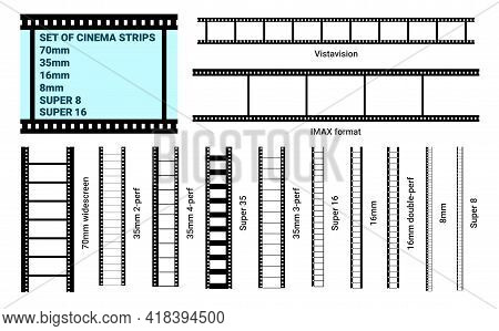 Old Retro Film Strip Frame Set Isolated On White Background. Reel Cinema Filmstrip Template. Graphic