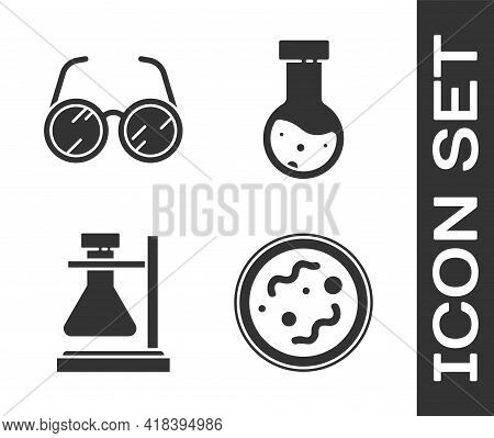 Set Bacteria, Laboratory Glasses, Test Tube Flask On Stand And Test Tube And Flask Chemical Icon. Ve