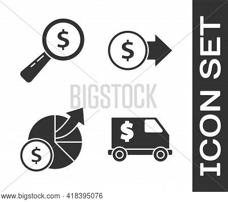 Set Armored Truck, Magnifying Glass And Dollar, Money And Diagram Graph And Coin Money With Dollar S