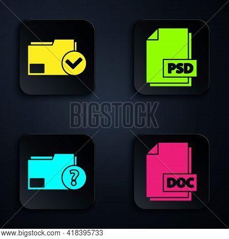 Set Doc File Document, Document Folder And Check Mark, Unknown Document Folder And Psd File Document
