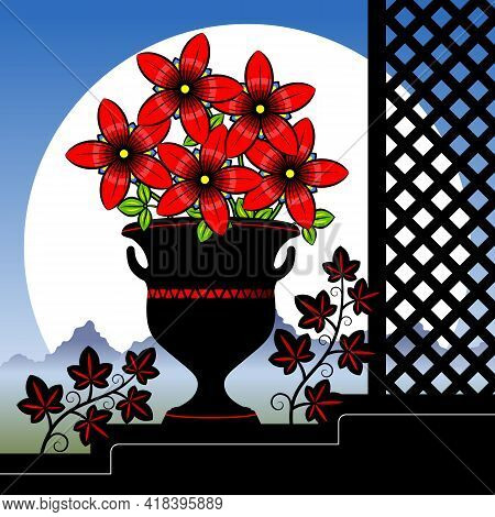 Stylized Red Flowers In A Vase.  Stylized Bouquet Of Flowers In A Vase On An Abstract Background. Ve