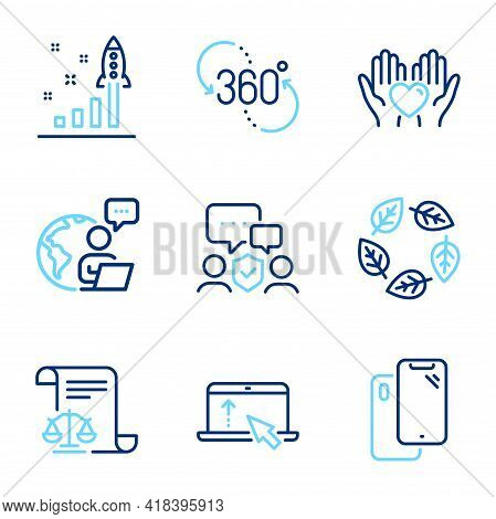 Business Icons Set. Included Icon As Organic Tested, Smartphone, Hold Heart Signs. Legal Documents,