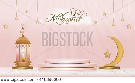 Eid Mubarak, Podium 3d With Traditional Islamic Lantern,candle,crescent Moon And Star On Pink Backgr