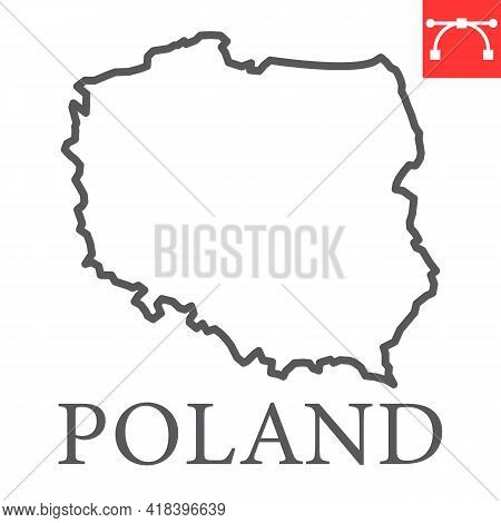 Map Of Poland Line Icon, Country And Travel, Poland Map Vector Icon, Vector Graphics, Editable Strok