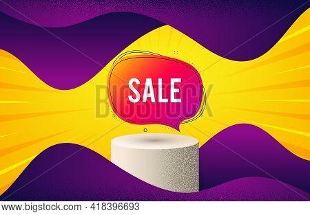 Sale Bubble Banner. Background With Podium Platform. Discount Sticker Shape. Coupon Chat Icon. Dotte