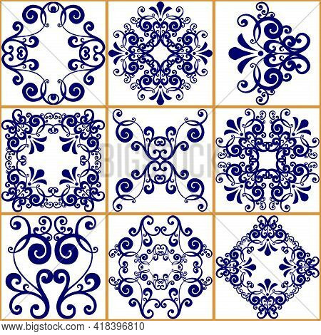Seamless Patchwork Tile. Majolica Pottery Tile. Portuguese And Spain Decor. Ceramic Tile In Talavera