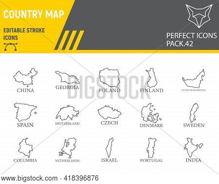 Map Of Country Line Icon Set, Country Collection, Vector Graphics, Logo Illustrations, Map Countries
