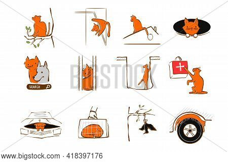 Vector Illustration Design For Pet Rescue Service. Cat High Up In Tree, Fell Through A Manhole, Got