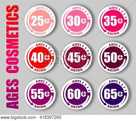 Anti-age Concept Stamps With Different Age And Back Time Clock Symbol. Creative Vector Set Of Anti-a