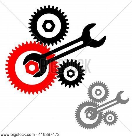 Cogwheel Gear Mechanism And Wrench.  Gears And Wrench Icon. Cogwheel Mechanism Silhouette. Vector Il