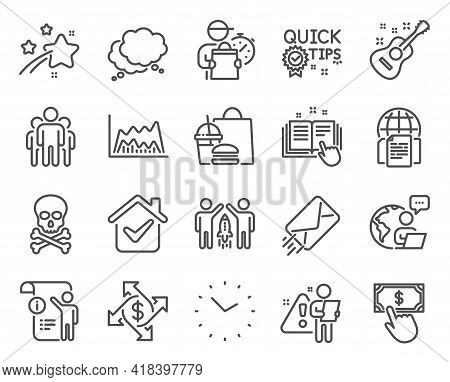 Education Icons Set. Included Icon As Internet Documents, Payment Click, Guitar Signs. Chemical Haza