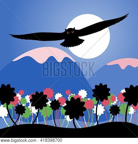 Stylized Mountain Landscape With Flowers And A Bird. Vector Illustration. Silhouette Of A Flying Owl