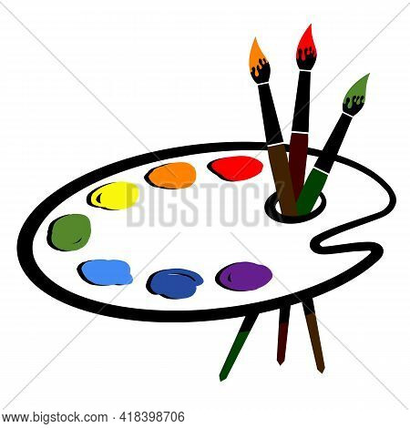 Artistic Palette With Paint And Brushes. Vector Illustration.