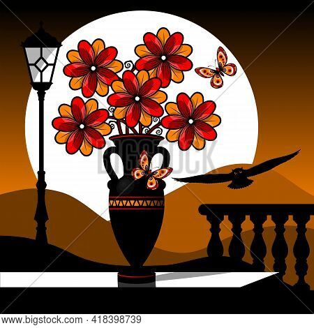 Stylized Still Life With Red Flowers Against The Background Of A Dawn Landscape. Vector Illustration