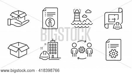 Hold Box, Engineering Team And Lighthouse Line Icons Set. Opened Box, Technical Documentation And Te