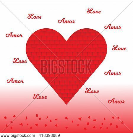 Love And Amor (love In Spanish) Greeting Card. Heart Shaped Pinata And Gradient Background. For Card